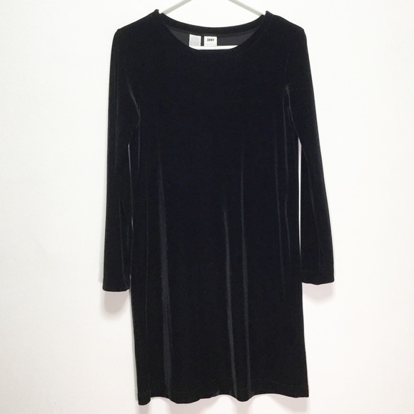 Dkny Dresses & Skirts - DKNY Petite Black Long Sleeve Velvet Dress